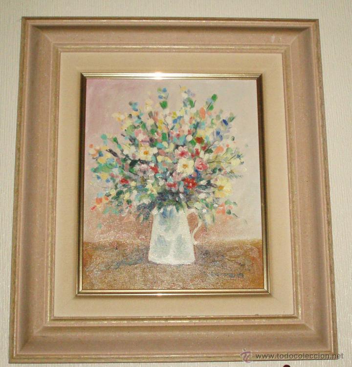 bodegon con flores pintura al oleo enmarcada - Comprar Pintura al ...