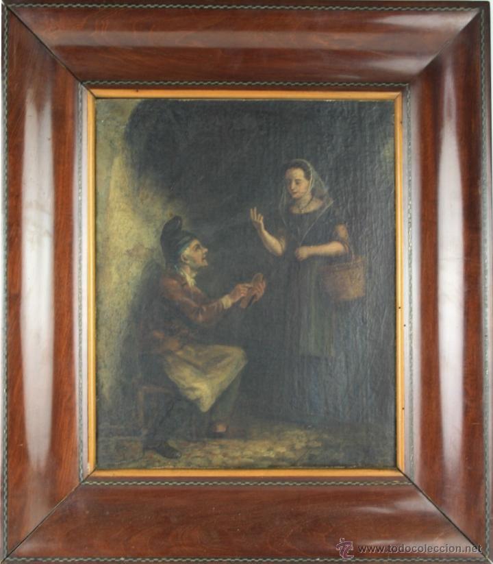 E3-009. OLEO SOBRE LIENZO ESCENA COSTUMBRISTA CATALANA. S. XIX. (Arte - Pintura - Pintura al Óleo Moderna siglo XIX)
