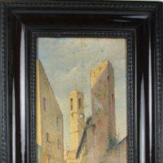 Arte: D3-013. OLEO SOBRE LIENZO REPRESENTANDO CALLE DE PUEBLO. S. XIX. SIN FIRMAR.. Lote 39736750