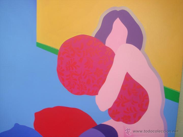 """Arte: EDUARDO URCULO (1938.+2003). ÓLEO SOBRE LIENZO """"EL ABRAZO DEL COLOR"""". 1970. - Foto 3 - 39826323"""