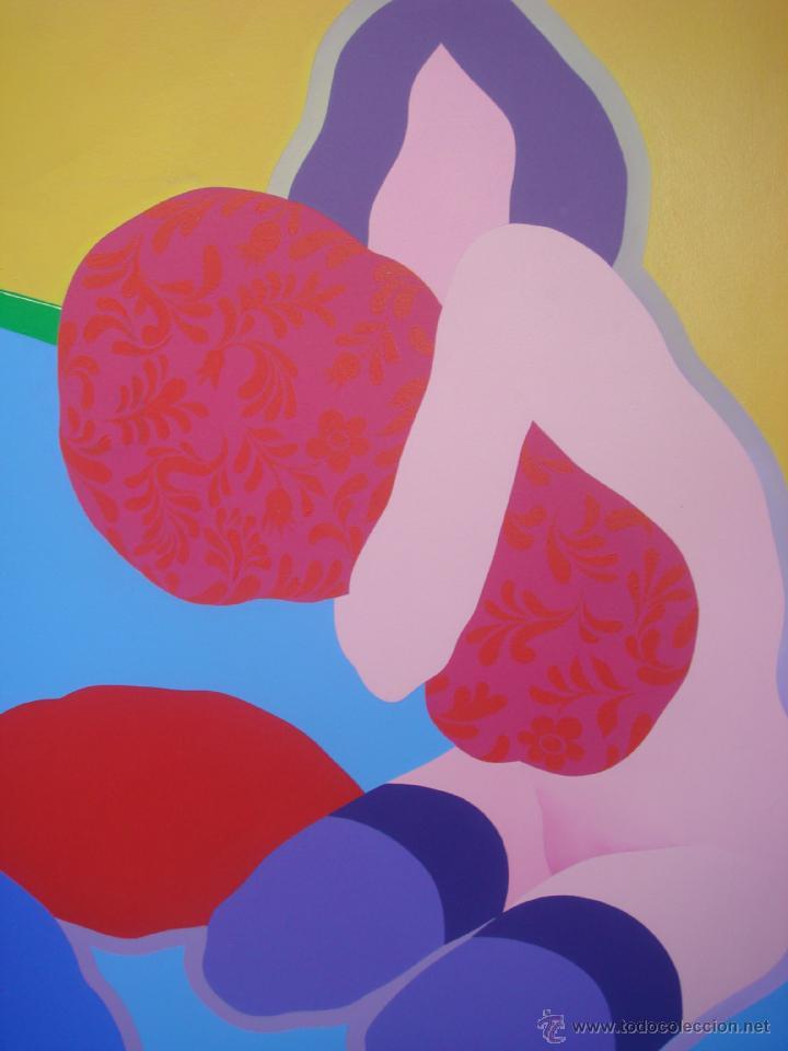 """Arte: EDUARDO URCULO (1938.+2003). ÓLEO SOBRE LIENZO """"EL ABRAZO DEL COLOR"""". 1970. - Foto 4 - 39826323"""