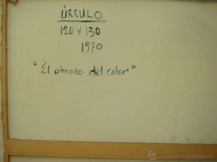 """Arte: EDUARDO URCULO (1938.+2003). ÓLEO SOBRE LIENZO """"EL ABRAZO DEL COLOR"""". 1970. - Foto 7 - 39826323"""