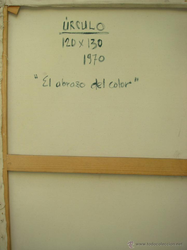 """Arte: EDUARDO URCULO (1938.+2003). ÓLEO SOBRE LIENZO """"EL ABRAZO DEL COLOR"""". 1970. - Foto 8 - 39826323"""