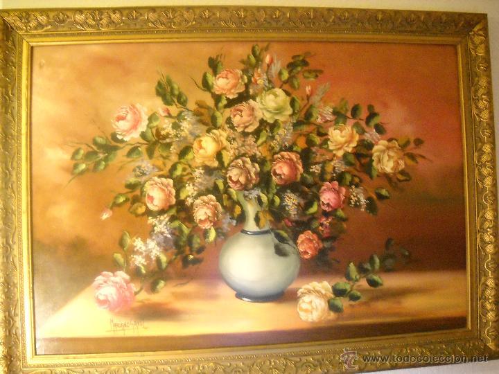 OLEO SOBRE LIENZO DE M.GALVEZ SOLLERO,JARRON CON ROSAS (Arte - Pintura - Pintura al Óleo Contemporánea )