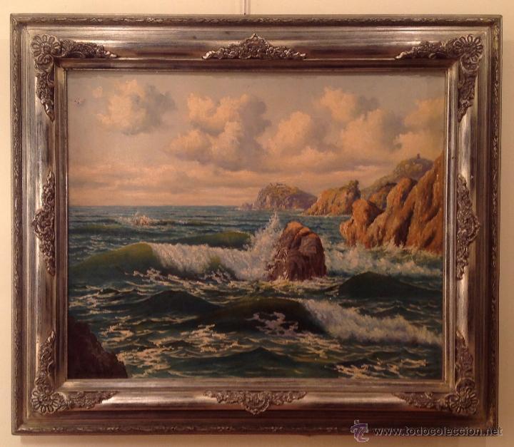PINTURA ÓLEO MARINA DEL PINTOR / ÀNGEL PLANELLS / 1901-1989 (Arte - Pintura - Pintura al Óleo Contemporánea )