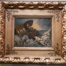 Arte: CARROZA DE CABALLOS EN ESTAMPIDA - MATEO. Lote 39988299
