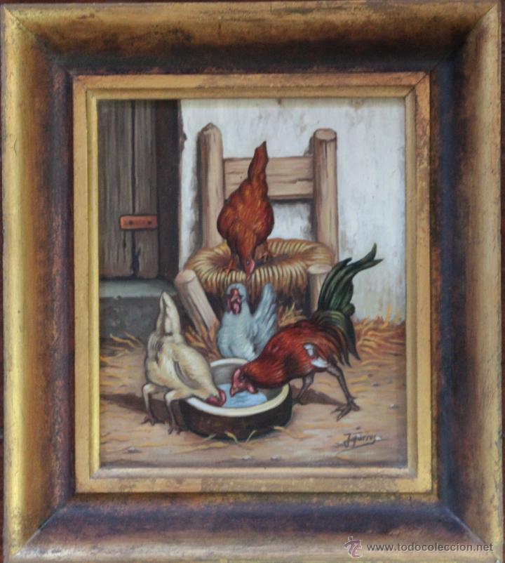 LAS GALLINAS - J.TORRES (Arte - Pintura - Pintura al Óleo Antigua sin fecha definida)