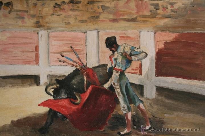 OLEO SOBRE TABLA, ILEGIBLE, TEMA TAURINO. (Arte - Pintura - Pintura al Óleo Contemporánea )