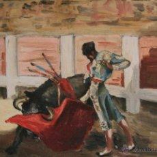 Arte: OLEO SOBRE TABLA, ILEGIBLE, TEMA TAURINO. OPORTUNIDAD. Lote 54810222