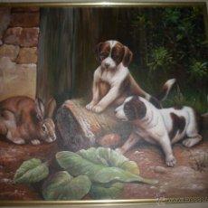 Arte: OLEO SOBRE LIENZO DE PERROS Y CONEJO (SIN MARCO). Lote 40181964