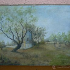 Arte: OLEO / TELA - FIRMA ILEGIBLE - 1945 - PAISAJE ENTRE ALMENDROS. Lote 40263323