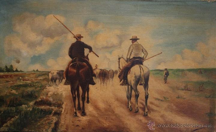 OLEO 60 X 37 FIRMADO J.VELAZQUEZ (Arte - Pintura - Pintura al Óleo Moderna siglo XIX)