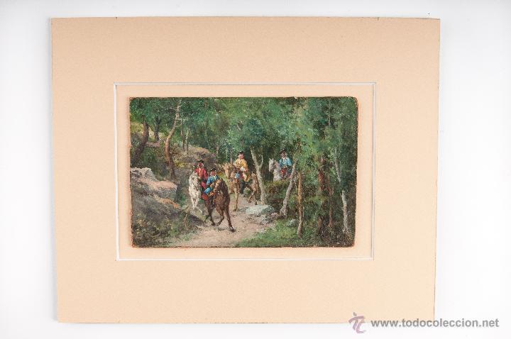 OLEO SOBRE CARTON, TEMA CAMPESTRE, FIRMA ILEGIBLE (Arte - Pintura - Pintura al Óleo Antigua sin fecha definida)