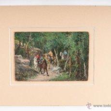 Arte: OLEO SOBRE CARTON, TEMA CAMPESTRE, FIRMA ILEGIBLE. Lote 40363015