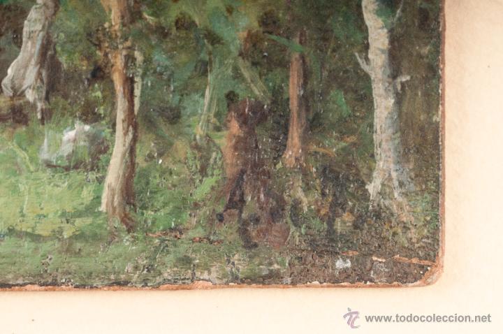 Arte: OLEO SOBRE CARTON, TEMA CAMPESTRE, FIRMA ILEGIBLE - Foto 8 - 40363015