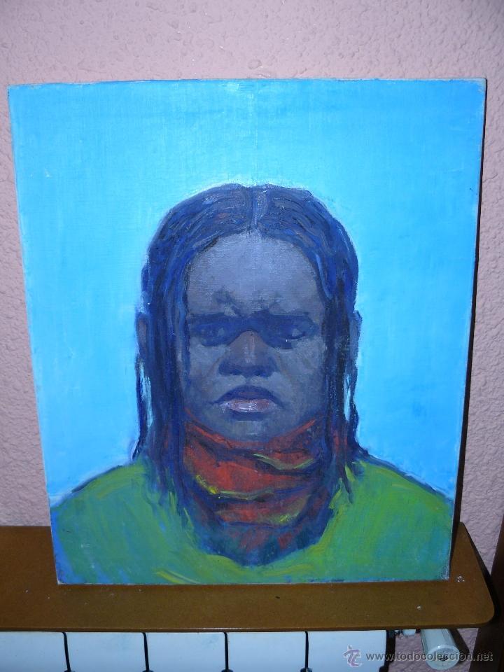 OLEO 7 TELA - ANÓNIMO - RETRATO MASCULINO - HOMBRE DE COLOR (Arte - Pintura - Pintura al Óleo Contemporánea )