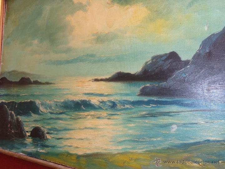 Arte: PRECIOSA PINTURA OLEO ATARDECER MARINA CON UNA MAGISTRAL PALETA DE TONO NOSTÁLGICO ANTIGUA - Foto 8 - 40384279