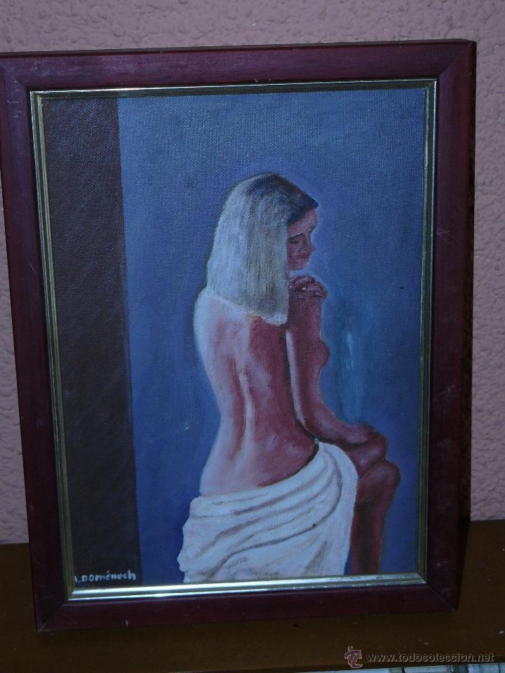 OLEO / TELA - A DOMENECH - DESNUDO DE ESPALDAS. (Arte - Pintura - Pintura al Óleo Contemporánea )