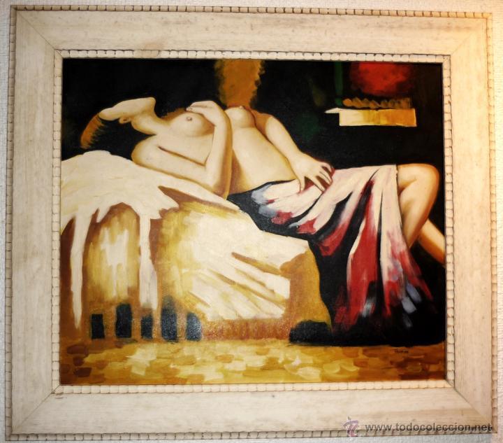 OLEO SOBRE LIENZO FIRMADO .MARCO MODERNO DE CALIDAD VER MEDIDAS (Arte - Pintura - Pintura al Óleo Moderna sin fecha definida)
