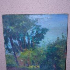 Arte: OLEO / CARTÓN - ANÓNIMO - PERSONAJE EN EL PARQUE. Lote 40424256