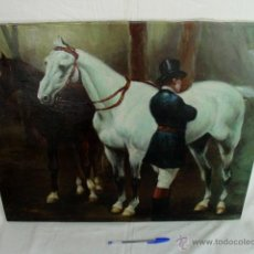 Arte: OLEO LIENZO. ANTIGUA COPIA DEL CUADRO TITULADO -ESPERA- DEL PINTOR JOSÉ CUSACHS.MUSEO ARTE BARCELONA. Lote 40452909