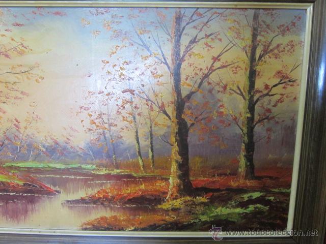 Arte: Bosque en otoño. Pintura al óleo sobre tablex. Firmado. - Foto 2 - 40461667