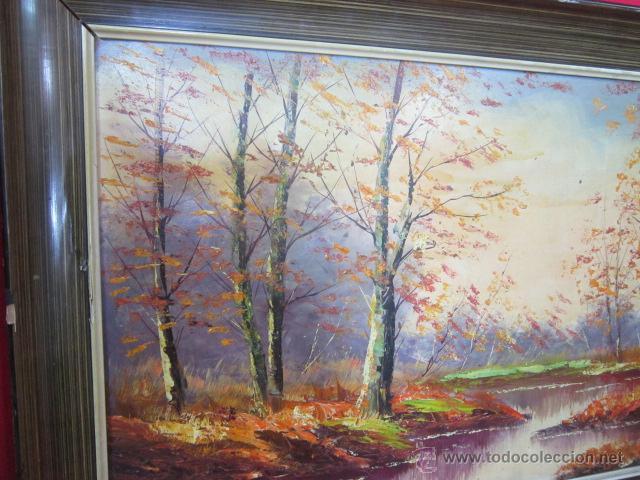 Arte: Bosque en otoño. Pintura al óleo sobre tablex. Firmado. - Foto 3 - 40461667