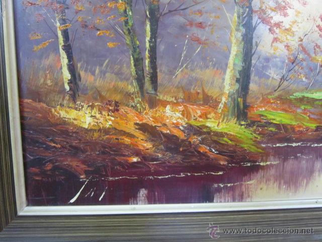 Arte: Bosque en otoño. Pintura al óleo sobre tablex. Firmado. - Foto 4 - 40461667