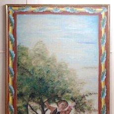 Arte: GRAN OLEO SOBRE TAPIZ SIGUIENDO A FRANCISCO DE GOYA MUCHACHOS COGIENDO FRUTAS PPOS S XX. Lote 40694339