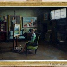 Arte: OLEO SOBRE TABLA INTERIOR DEL ESTUDIO DEL ARTISTA FERNANDO BRIONES CARMONA (ECIJA 1905-MADRID 1988). Lote 40694479