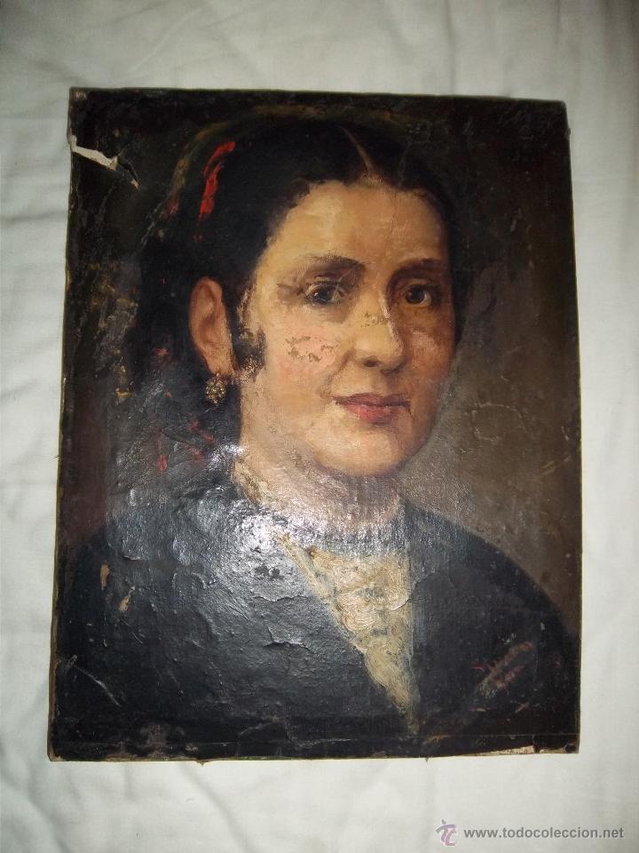 RETRATO DE DAMA ANTIGUO AL ÓLEO (Arte - Pintura - Pintura al Óleo Moderna siglo XIX)