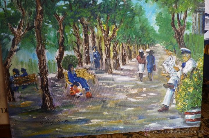 OLEO, PINTURA DE ESTILO IMPRESIONISTA, EL PARQUE, FIRMADA VIRGILIO 84 (Kunst - Malerei - Zeitgenössische Ölmalerei)