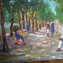 Arte: OLEO, PINTURA DE ESTILO IMPRESIONISTA, EL PARQUE, FIRMADA VIRGILIO 84. Lote 98458164