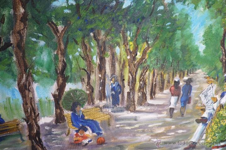Kunst: OLEO, PINTURA DE ESTILO IMPRESIONISTA, EL PARQUE, FIRMADA VIRGILIO 84 - Foto 2 - 98458164