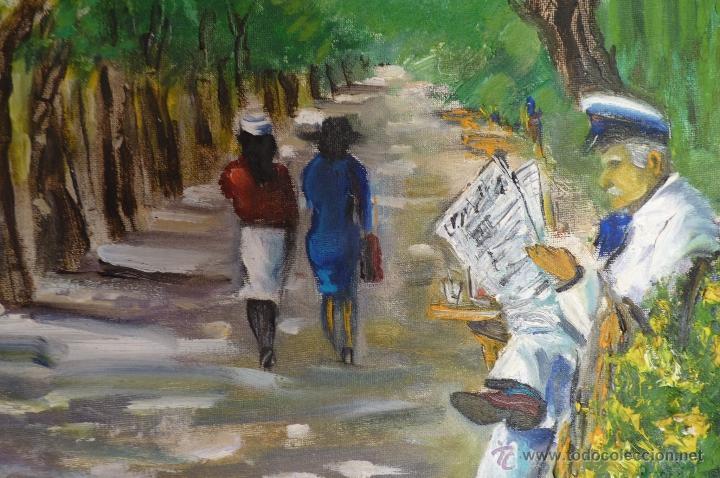 Kunst: OLEO, PINTURA DE ESTILO IMPRESIONISTA, EL PARQUE, FIRMADA VIRGILIO 84 - Foto 3 - 98458164