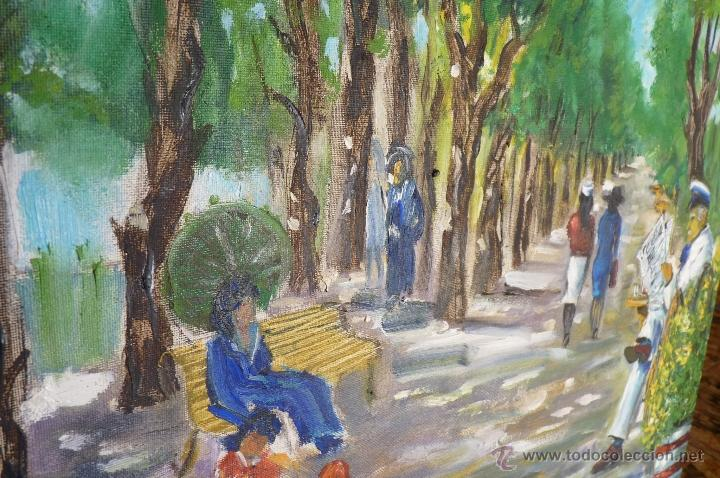 Kunst: OLEO, PINTURA DE ESTILO IMPRESIONISTA, EL PARQUE, FIRMADA VIRGILIO 84 - Foto 4 - 98458164