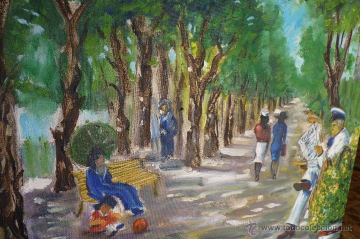 Kunst: OLEO, PINTURA DE ESTILO IMPRESIONISTA, EL PARQUE, FIRMADA VIRGILIO 84 - Foto 5 - 98458164