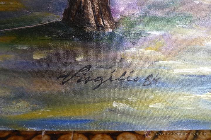 Kunst: OLEO, PINTURA DE ESTILO IMPRESIONISTA, EL PARQUE, FIRMADA VIRGILIO 84 - Foto 6 - 98458164