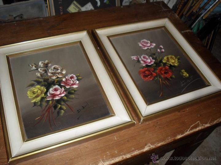 pareja de cuadros, marcos con pintura floral. p - Comprar Pintura al ...
