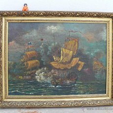 Arte: MUY MUY ANTIGUO CUADRO S.XVI XVII BATALLA NAVAL FLANDES ? OLEO SOBRE TELA MADERA PINTURA BARCOS. Lote 40782497