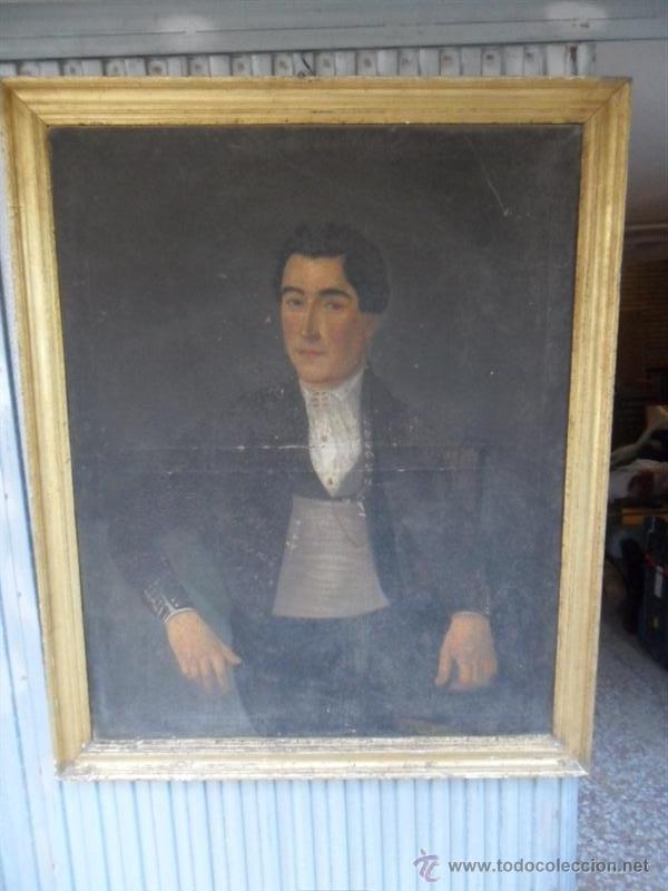 RETRATO ANTIGUO AÑO 1850 (Arte - Pintura - Pintura al Óleo Antigua siglo XVIII)
