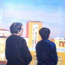 Arte: LIENZO EN MEDIDA 150 X 75 CM. TITULO SEÑORAS MIRANDO. Lote 40980521