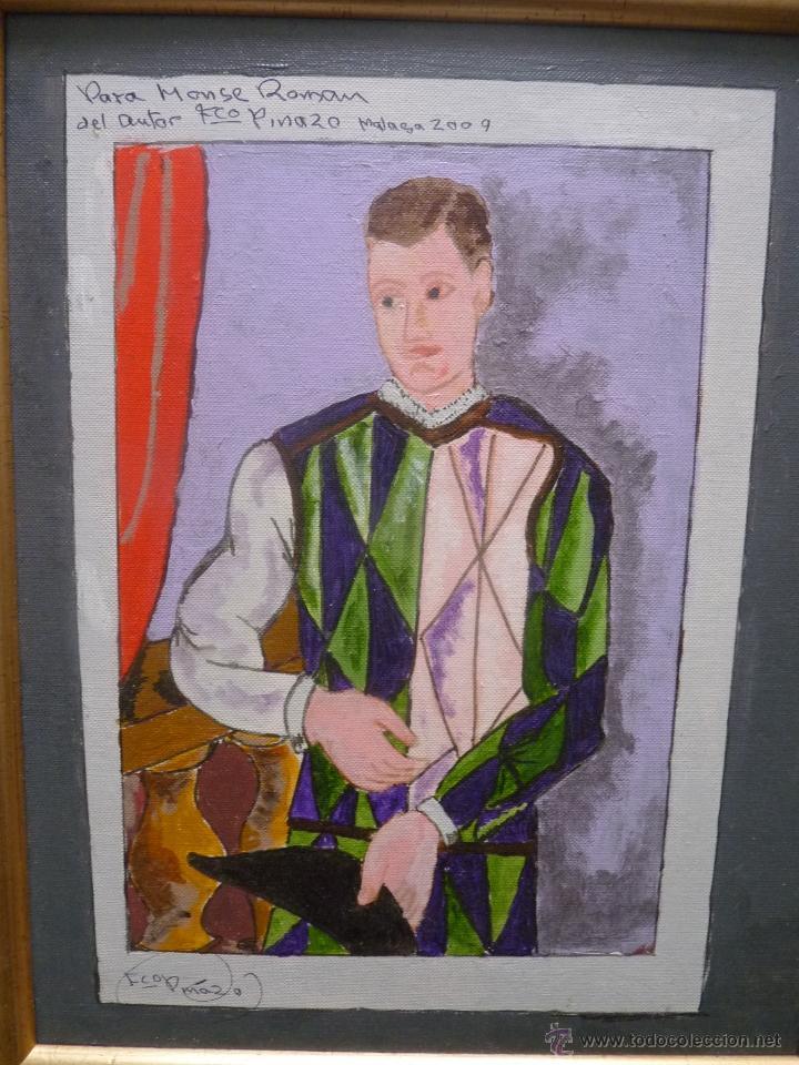 OLEO SOBRE TABLA ARLEQUÍN (INSPIRADO EN PICASSO), AUTOR FRANCISCO PINAZO, MÁLAGA (Arte - Pintura - Pintura al Óleo Contemporánea )