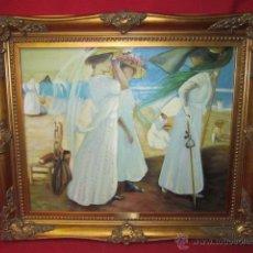 Arte: BAJO EL TOLDO. 1910. COPIA DEL CUADRO DE SOROLLA. ENMARCADO.. Lote 41091646