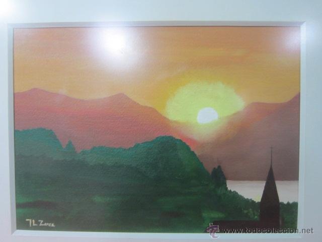 Arte: Puesta de sol. Pintura al oléo sobre lienzo, firmada y enmarcada. - Foto 2 - 41092161