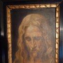 Arte: PINTURA AL OLEO LIENZO SOBRE TABLA, ROSTRO DE CRISTO, FIRMADA Y FECHADA. Lote 41099346