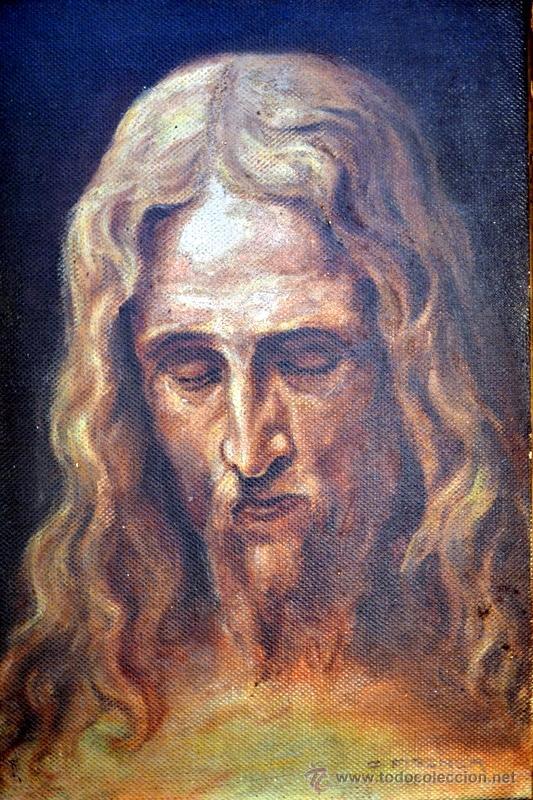 Arte: PINTURA AL OLEO LIENZO SOBRE TABLA, ROSTRO DE CRISTO, FIRMADA Y FECHADA - Foto 2 - 41099346