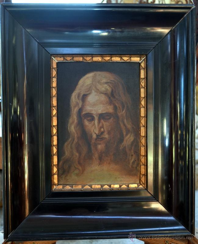 Arte: PINTURA AL OLEO LIENZO SOBRE TABLA, ROSTRO DE CRISTO, FIRMADA Y FECHADA - Foto 4 - 41099346