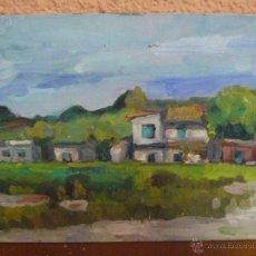 Arte: OLEO / TABLILLA ENTELADA - ANÓNIMO - PAISAJE CON CASAS. Lote 41212308