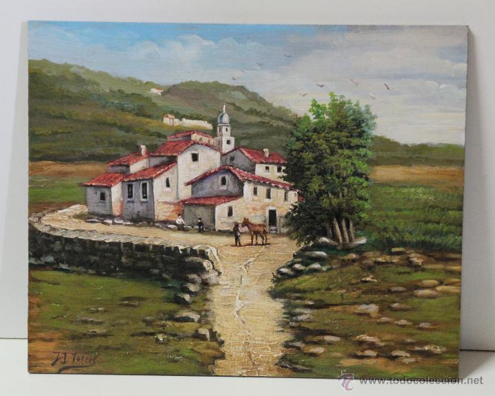 PRECIOSO PAISAJE DE ALDEA - J I TORRES (Arte - Pintura - Pintura al Óleo Antigua sin fecha definida)